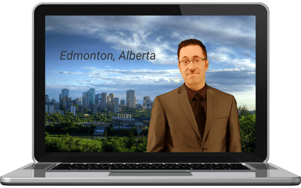 Laptop with image of Edmonton and Clayton Bowick (Founder/Web Consultant).